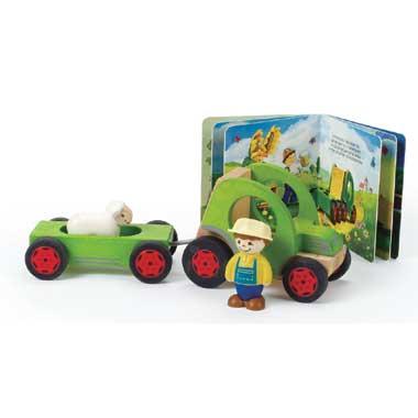 Houten tractor set