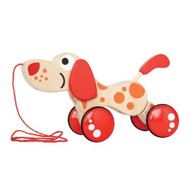 Houten trekfiguur puppy