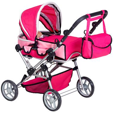 Roze Poppenwagen met Luiertas