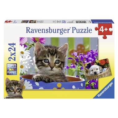 Ravensburger Schattige Viervoeters 2 Puzzels 24 stukjes