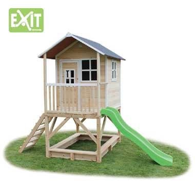 EXIT speelhuis Loft 500 met glijbaan - naturel