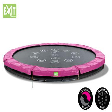 EXIT Twist Ground verlaagde trampoline rond - 305 cm - grijs/roze