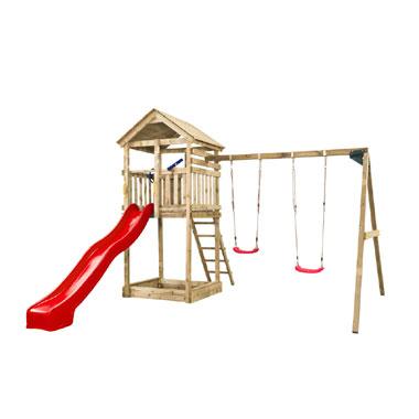 SwingKing speeltoren Daan met 2-delige schommel + glijbaan - rood