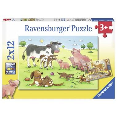 Ravensburger puzzelset gelukkige dierenfamilies -12 stukjes