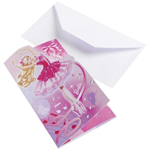 Barbie pink shoes - 6 uitnodigingskaarten