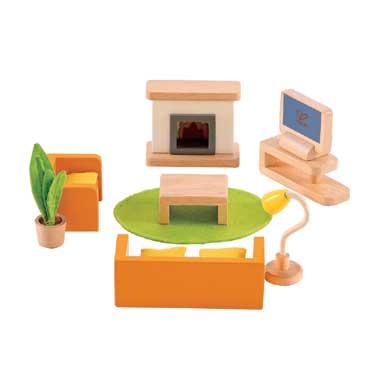 Houten woonkamer meubeltjes voor poppenhuis