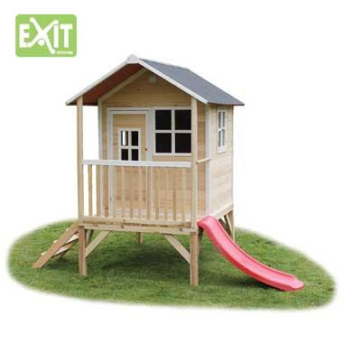 EXIT speelhuis Loft 300 met glijbaan - naturel