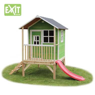 EXIT speelhuis Loft 300 met glijbaan - groen