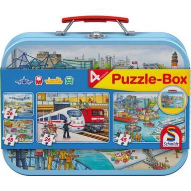 Schmidt puzzelbox Vehicles 2 x 26 en 2 x 48 stukjes
