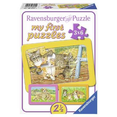 Ravensburger De Liefste Huisdieren Mijn Eerste Puzzel 3x6 stukjes