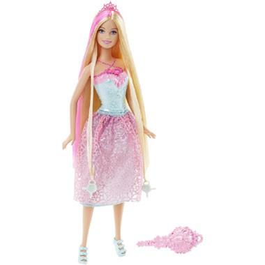 Barbie lang haar prinsespop - roze