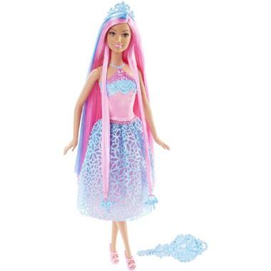 Barbie lang haar prinsespop - blauw