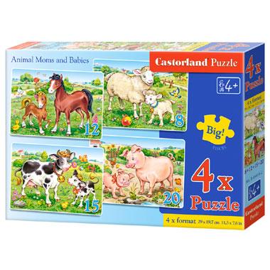 Castorland puzzel dieren moeders en baby's - 55 stukjes