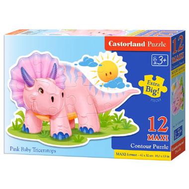 Castorland puzzel roze baby Triceratops maxi - 12 stukjes