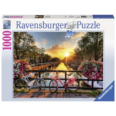 Ravensburger puzzel Fietsen in Amsterdam - 1000 stukjes