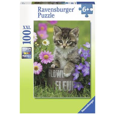 Ravensburger XXL-puzzel kat tussen de bloemen - 100 stukjes