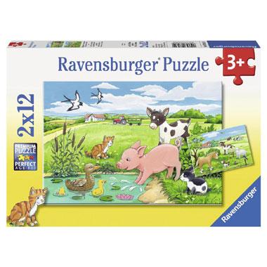 Ravensburger puzzelset jonge dieren op het platteland - 2 x 12 stukjes