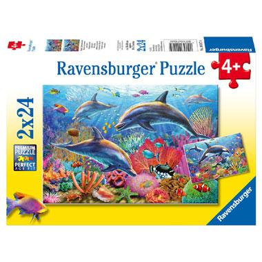Ravensburger puzzelset kleurrijke onderwaterwereld - 2 x 24 stukjes