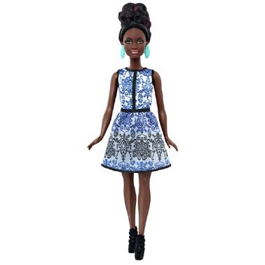 Barbie Fashionistas pop met blauwe jurk - klein