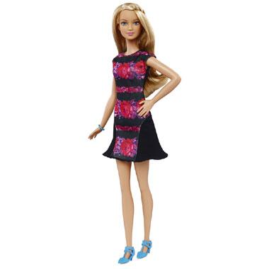 Barbie Fashionistas pop met rood/zwarte jurk - lang
