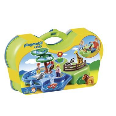 PLAYMOBIL 1.2.3. meeneem dierentuin met waterpartij 6792