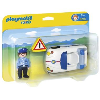 PLAYMOBIL 1.2.3 politiewagen met agent 6797
