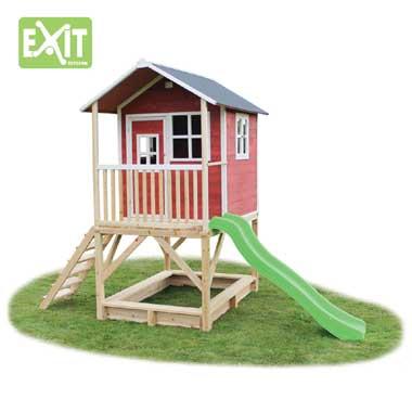 EXIT speelhuis Loft 500 met glijbaan - rood