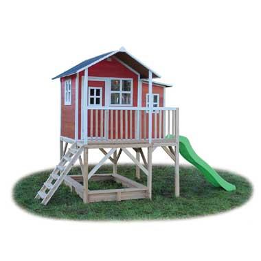 EXIT Loft 550 speelhuisje op poten met glijbaan - rood