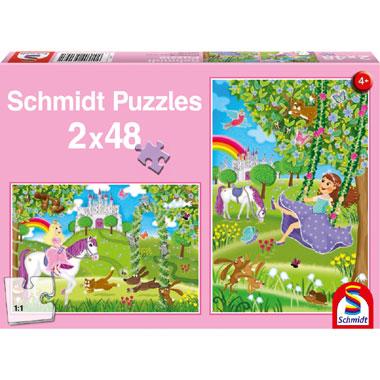 Prinses in het kasteel puzzel - 2x48 stukjes