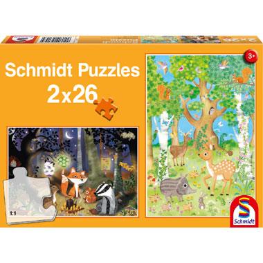 Dieren van het bos puzzel - 2x26 stukjes