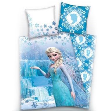 Disney Frozen sneeuwkristallen dekbedovertrek - 140x200 cm - blauw/wit