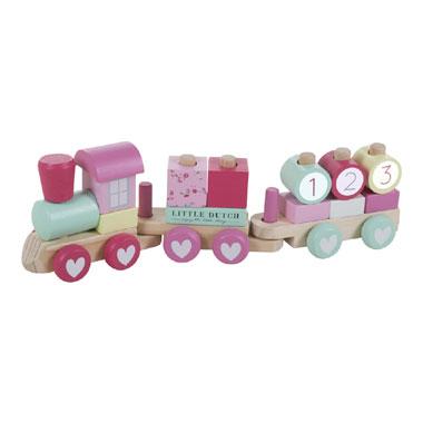 Little Dutch houten blokkentrein Pink Blossom