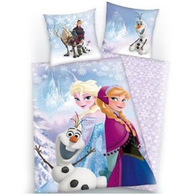 Disney Frozen Elsa en Anna dekbedovertrek - 140x200 cm - Blauw/wit/paars