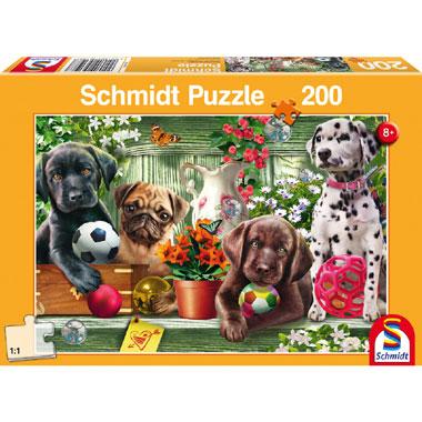 Speelse puppies puzzel - 200 stukjes