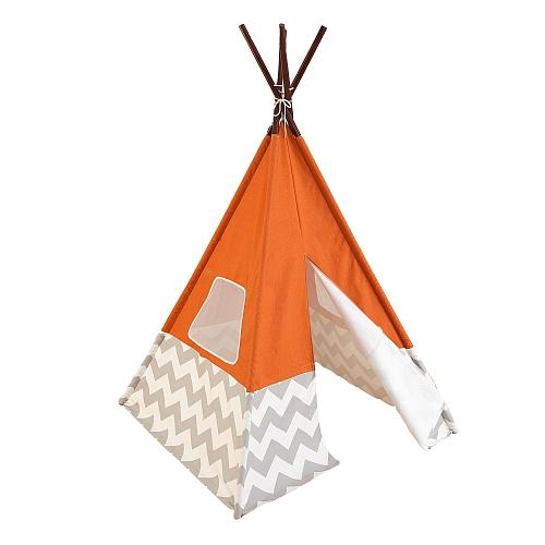 Kidkraft - speel teepee - oranje met grijs en wit chevron