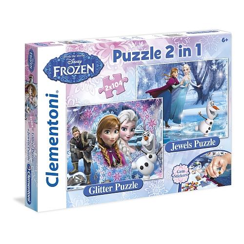 Disney frozen - puzzel: 2-in-1 glitterpuzzel