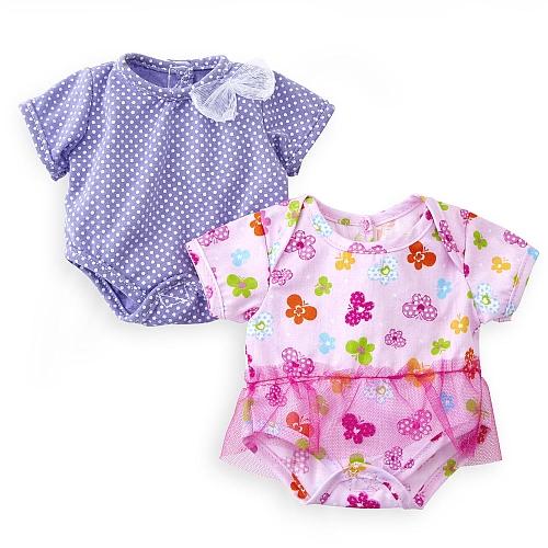 You & me - poppenondergoed 30-38 cm (lila + bloemen)